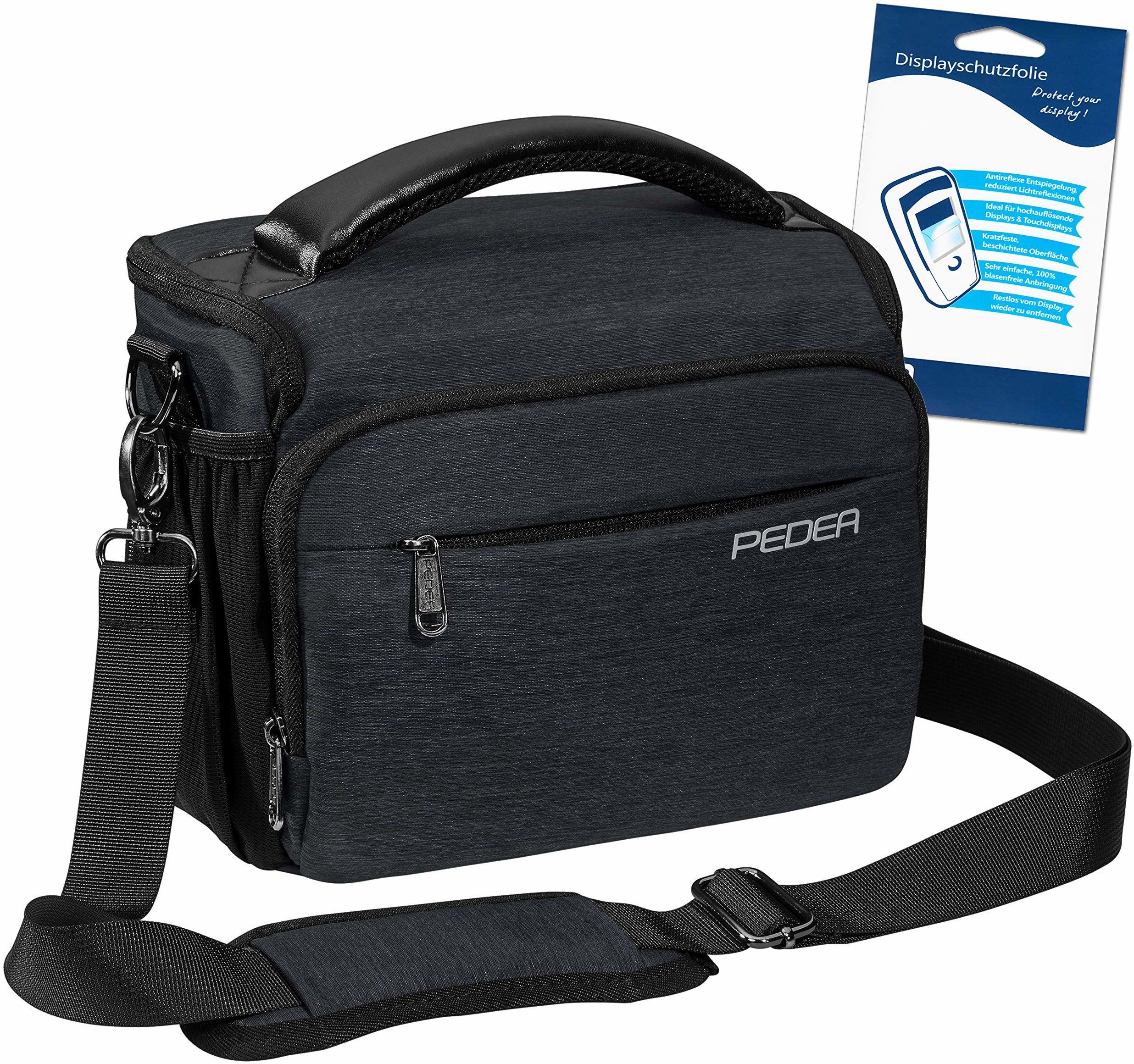 "PEDEA DSLR torba na aparat""Noble"" z folią ochronną na wyświetlacz do Canon EOS 5D Mark II 400D 2000D / Nikon D60 D80 D90 D3100 D3200 D3300 D3400 D5300 D7100 / Pentax K 30 K 500 K, rozm. XL antracyt"