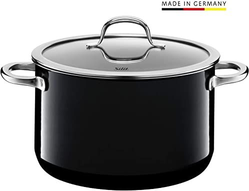Silit Passion Black garnek do gotowania i mięsa, wysoki, 24 cm, szklana pokrywka, 6,4 l, ceramika funkcyjna Silargan, indukcja garnka, czarny