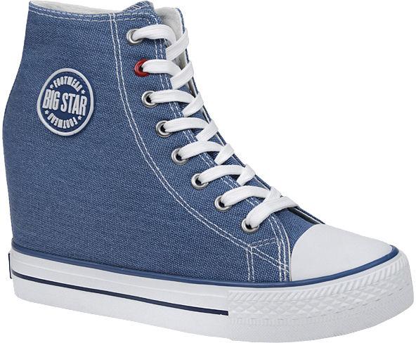 Trampki BIG STAR U274901 Niebieskie na koturnie - Niebieski Biały
