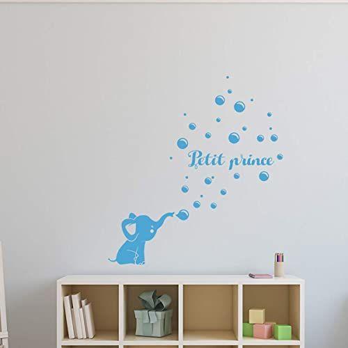 Spersonalizowane naklejki z imieniem słoń - dekoracja ścienna do pokoju dziecięcego 2 arkusze o wymiarach 20 x 30 cm i 55 x 30 cm  lodowy błękit