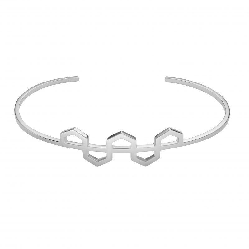 Biżuteria damska CLUSE Jewellery Essentielle Silver Hexagon Pattern Cuff Bracelet CLJ12004