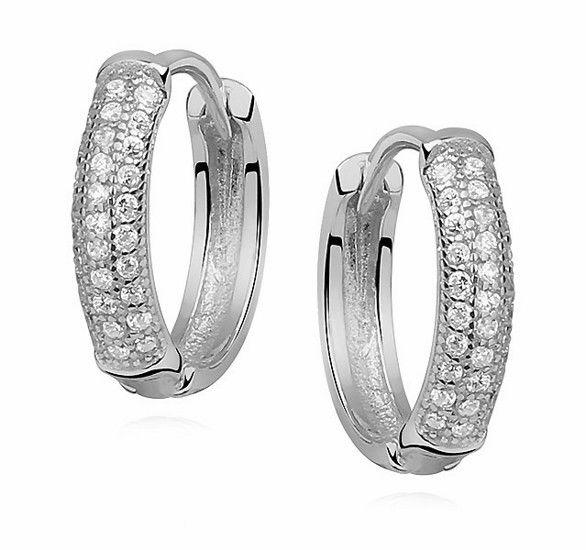 Eleganckie rodowane srebrne kolczyki kółka z cyrkoniami srebro 925 Z0967