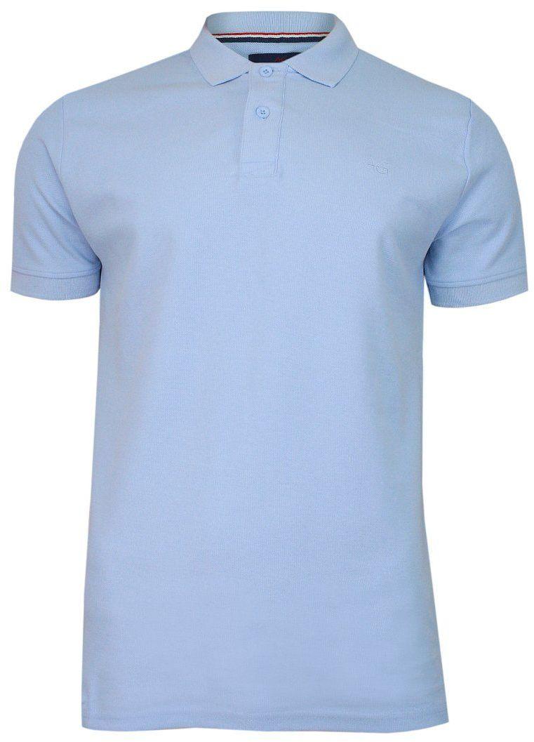 Niebieska Bawełniana Koszulka POLO -Adriano Guinari- Męska, Krótki Rękaw, z Kołnierzykiem, Casualowa TSADGPOLOplacidblue