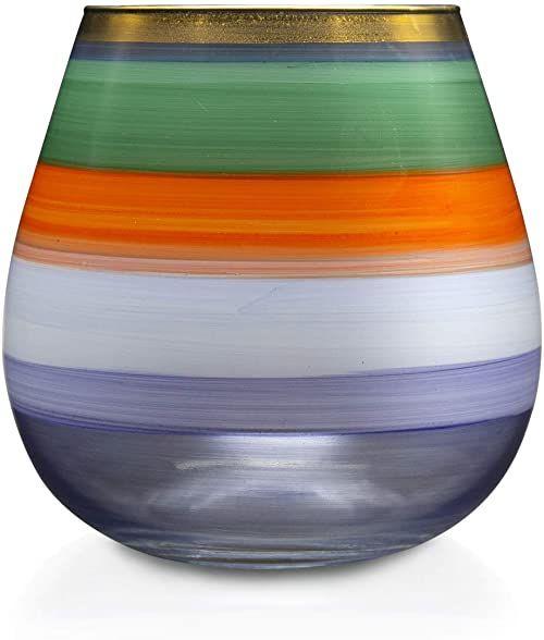 Angela Neue Wiener Werkstätte Świecznik Vesuvio morski wazon z kolorowego szkła, niebieski, 15 cm