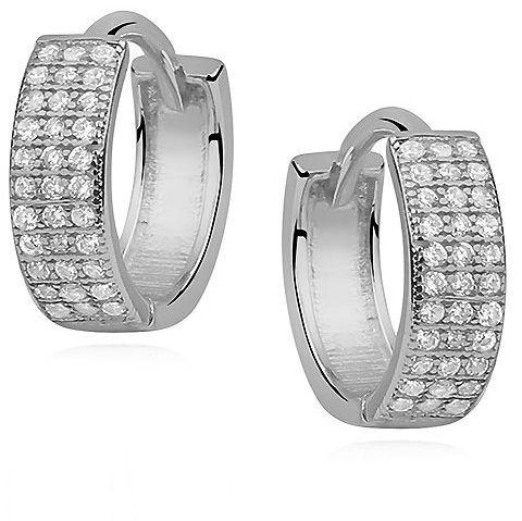 Eleganckie rodowane srebrne kolczyki kółka z cyrkoniami srebro 925 Z0970
