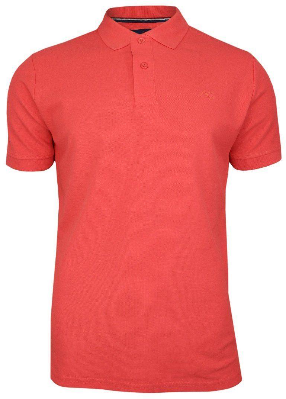 Koralowa, Pomarańczowa Bawełniana Koszulka POLO -Adriano Guinari Męska, Krótki Rękaw z Kołnierzykiem TSADGPOLOlivingcoral
