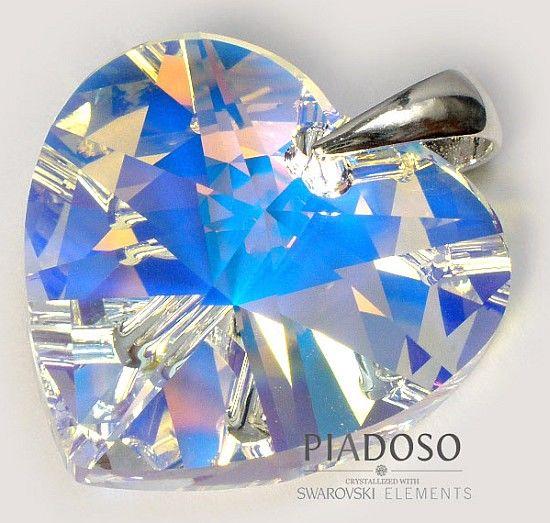 SWAROVSKI SREBRO WISIOREK duży kryształ łańcuszek