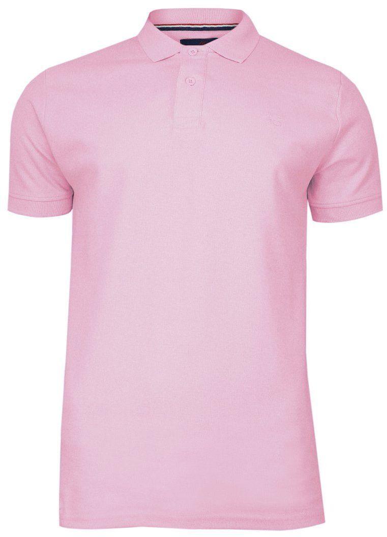 Różowa Bawełniana Koszulka POLO -Adriano Guinari- Męska, Krótki Rękaw, z Kołnierzykiem, Casualowa TSADGPOLOlilakscarlet