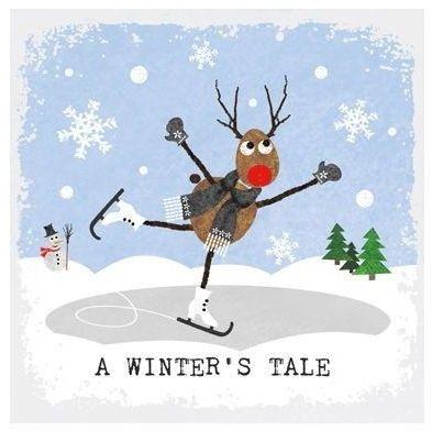 SERWETKI PAPIEROWE Zimowa Opowieść: renifer na łyżwach