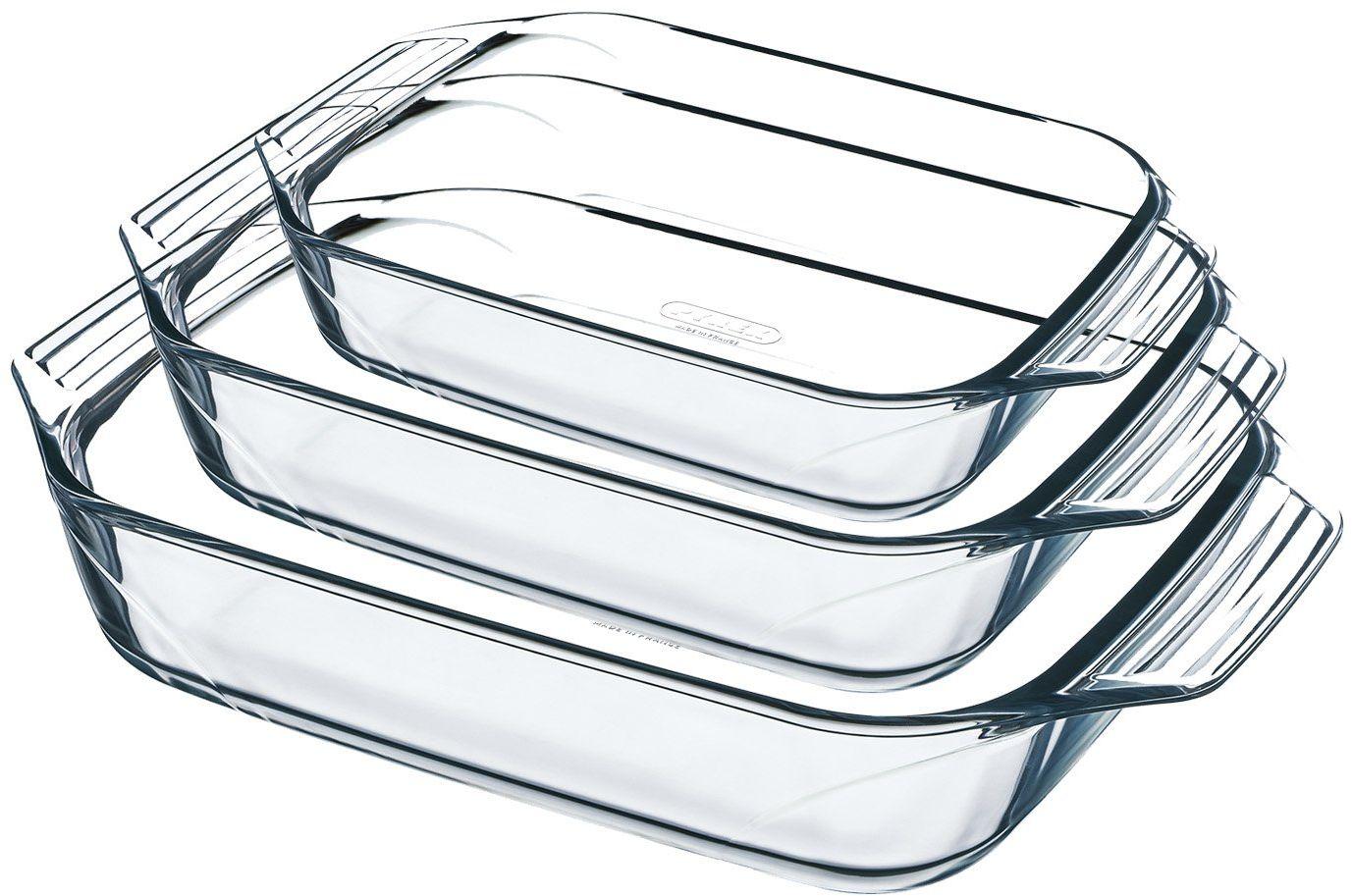 Pyrex 8023510 naczynie do zapiekania ze szkła, szkło borokrzemowe, wyjątkowo wytrzymałe, wyprodukowane we Francji, 3 sztuki