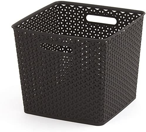 Curver 03613-210-00 My Style składane pudełko do przechowywania z efektem rattanu duże 30 l wysokiej czekolady