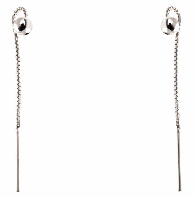 Delikatne przewlekane srebrne wiszące kolczyki z kuleczkami kulki srebro 925 K0741