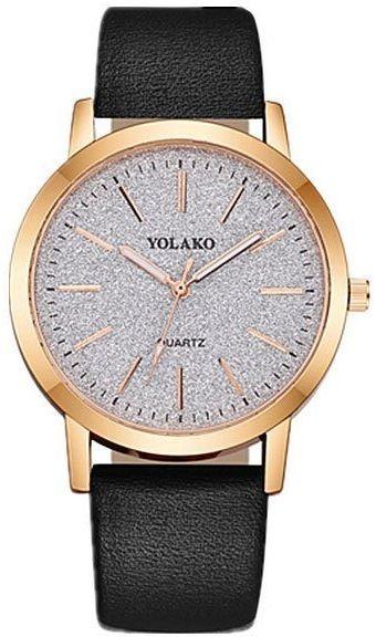 Zegarek damski złoty czarny brokatowy elegancki