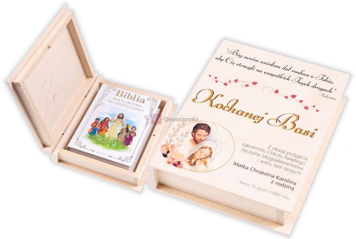 Biblia w pudełku drewnianym EKO  z nadrukiem UV - Pamiątka Chrztu Świętego