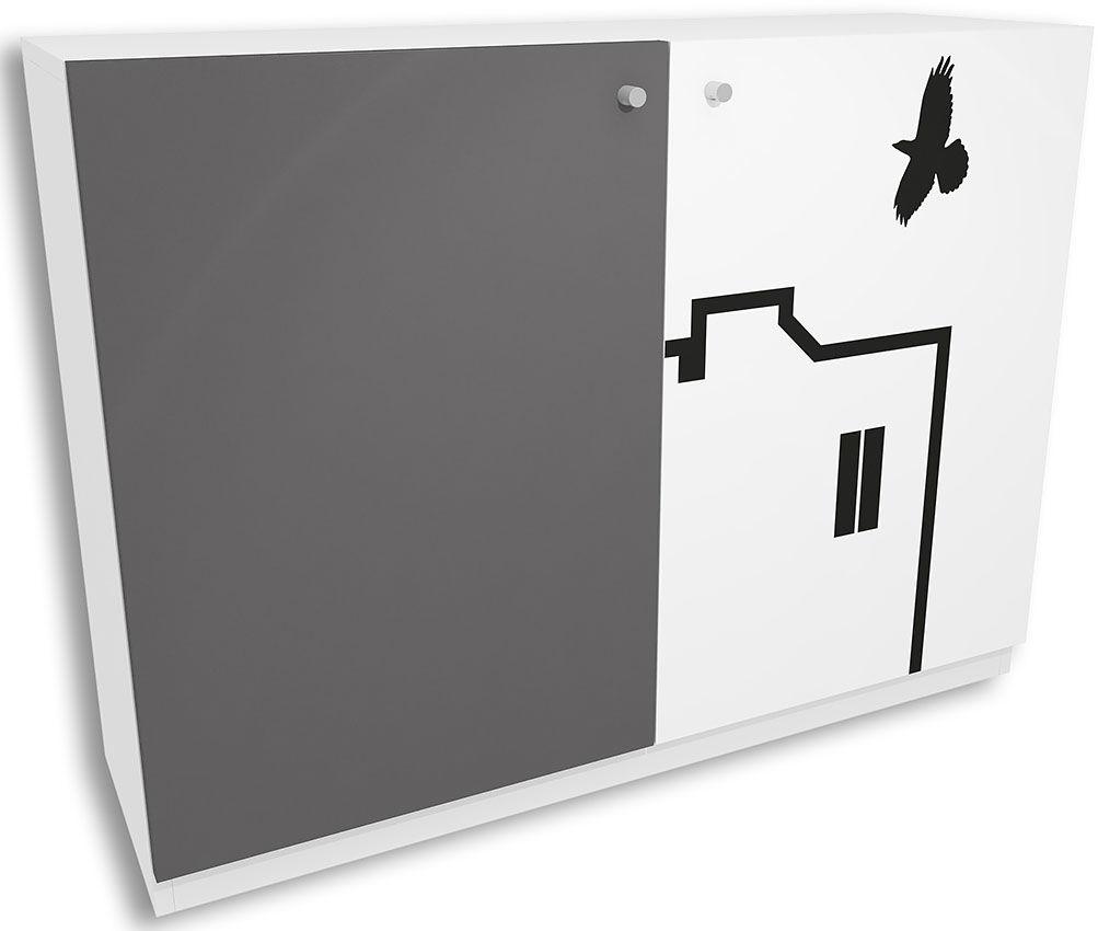 Biało-grafitowa komoda dla dziecka Timi 4X - 5 kolorów