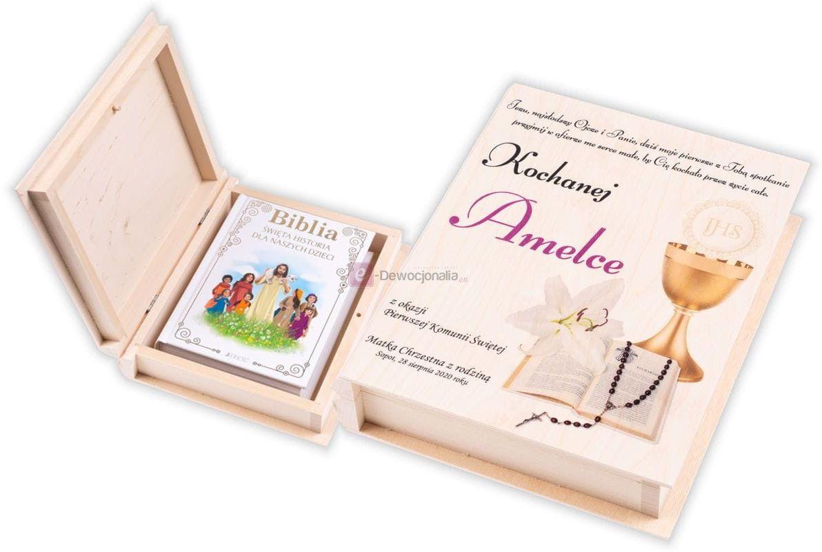 Biblia w pudełku drewnianym EKO  z nadrukiem UV - Pamiątka I Komunii Świętej