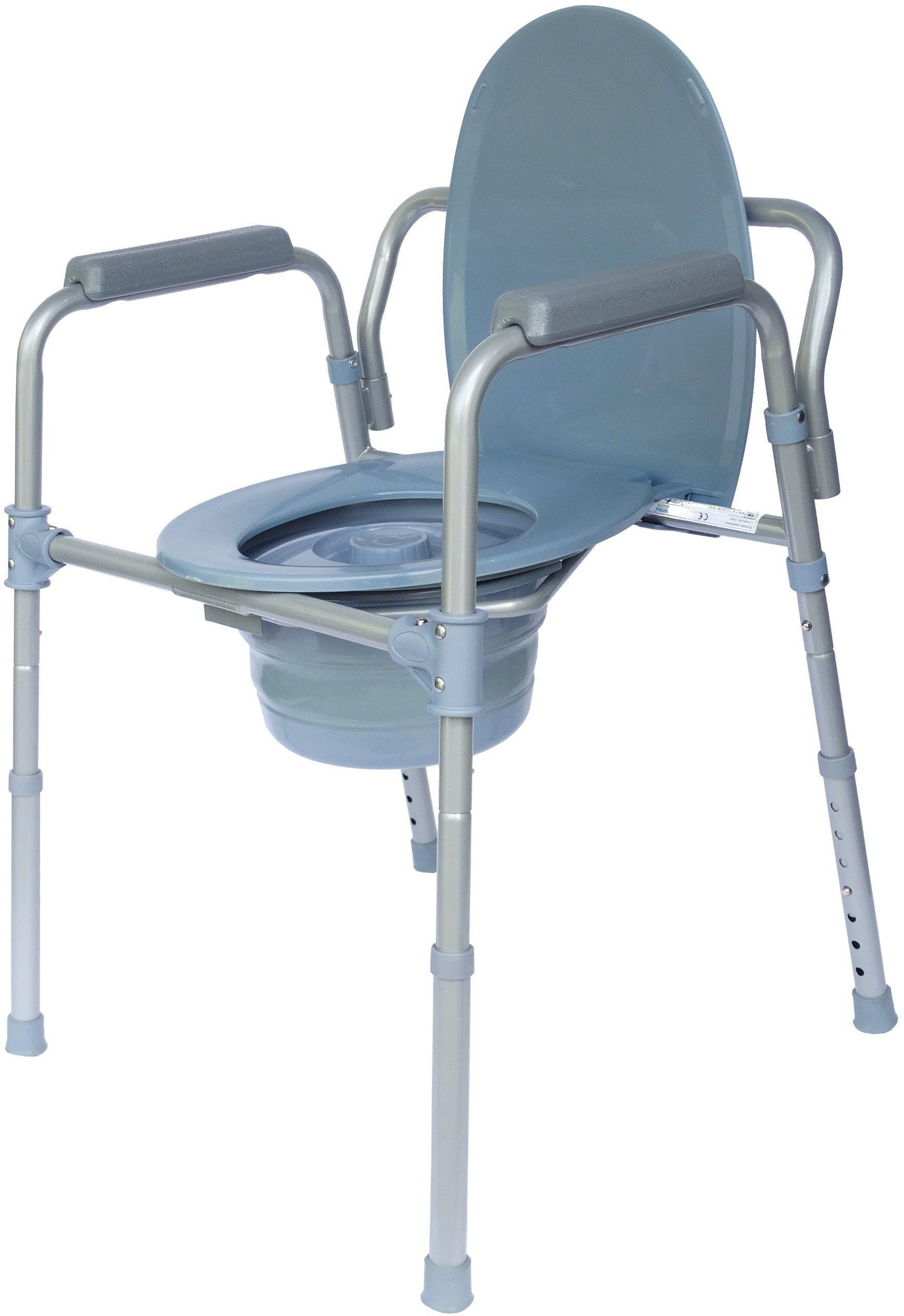 Krzesło toaletowe z regulacją wysokości ze składanym pojemnikiem VITEA CARE