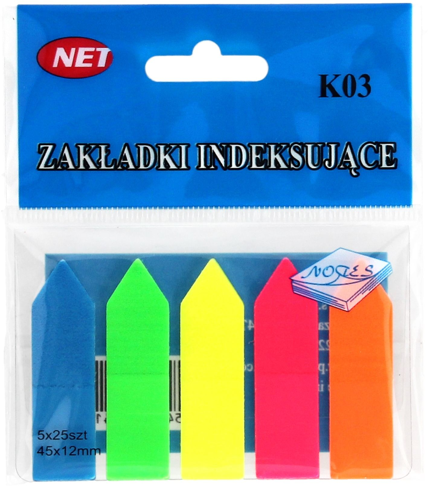 Zakładki indeksujące 12x48 5kol strzałki Net K03