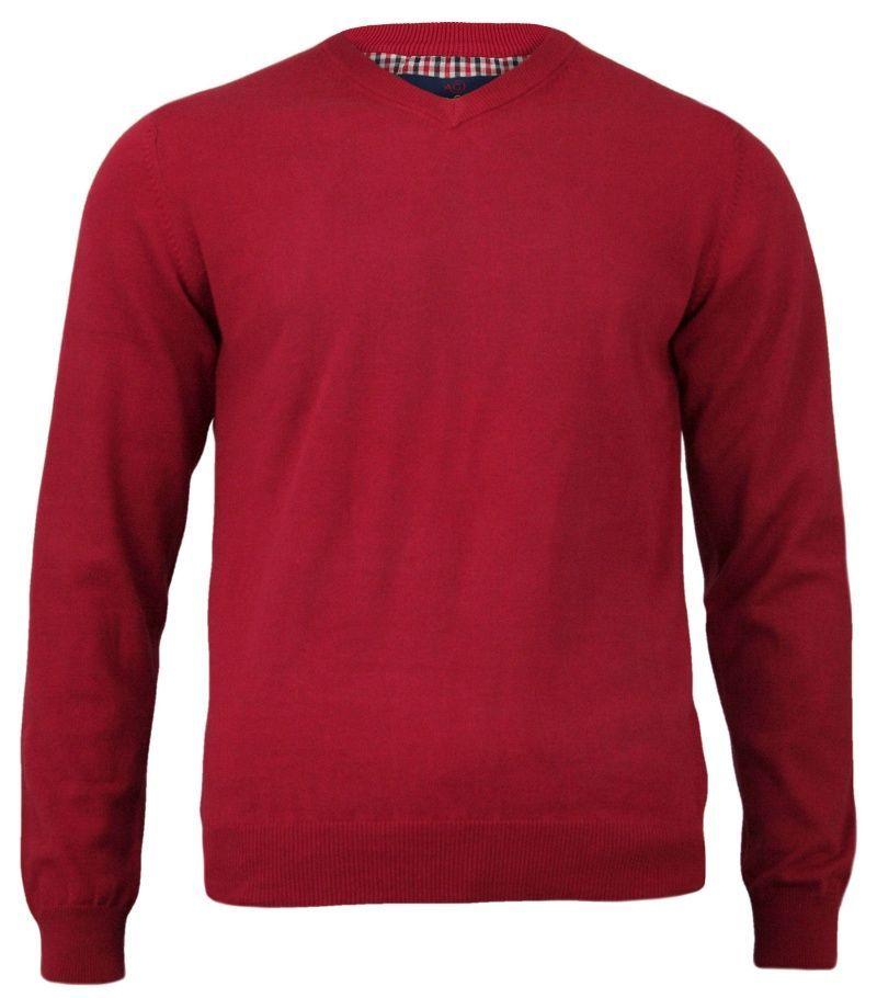 Czerwony Elegancki Męski Sweter (V-neck) - Adriano Guinari - 100% Bawełna, Dekolt w Serek SWADGAW18skipatrolV