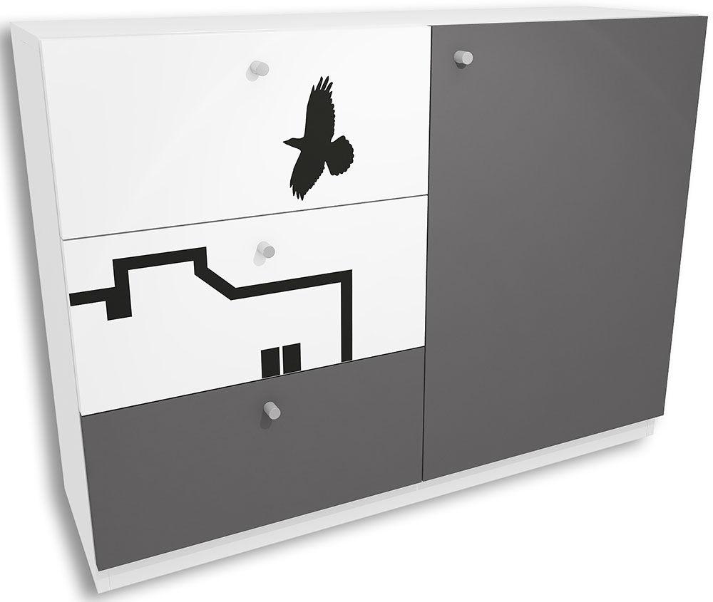 Biało-grafitowa komoda dziecięca z szufladami Timi 5X - 5 kolorów
