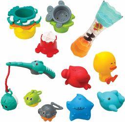 Infantino Wanna splish & Splash 17-częściowy zestaw do kąpieli, wprowadza liczby, układanie, koordynację ręka-oko i rozwój umiejętności motorycznych brutto, wielobarwny