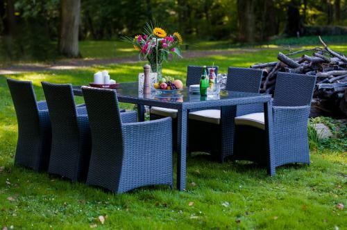 Zestaw obiadowy GUSTOSO szary technorattan stół 200cm (aluminium) 6 foteli