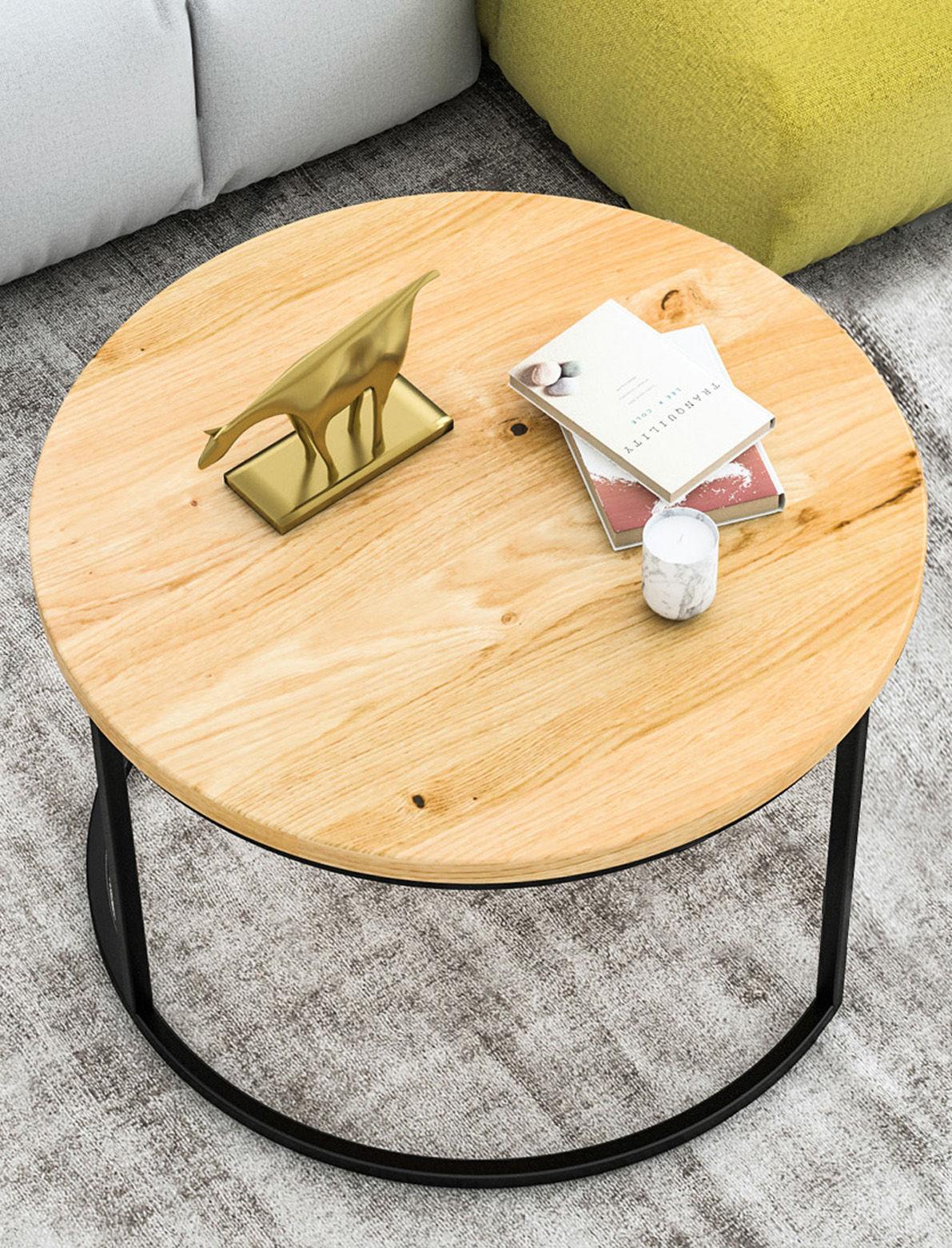 Okrągły stolik kawowy dębowy Ław03 duży