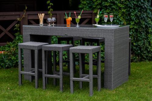 Meble barowe do ogrodu GENIALE szary technorattan stół (aluminium) 6 hokerów