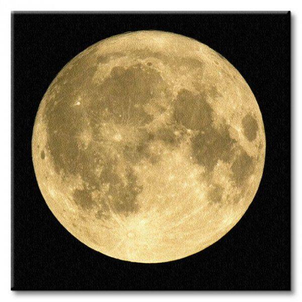 Obraz na płótnie - Złoty Księżyc - 40x40cm - Dekoracje ścienne