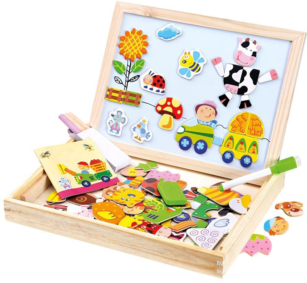Bino 88117 puzzle, 102 sztuk, z dwustronną płytą magnetyczną, flamaster, gumką i kredą. Dla dzieci w wieku od 3 lat. Rozmiar pudełka ok. 31 x 23,5 x 3,5 cm, wielokolorowa