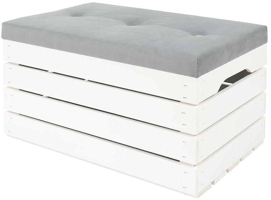 Biała skrzynia z pikowanym siedziskiem Alva 3X- 38 kolorów