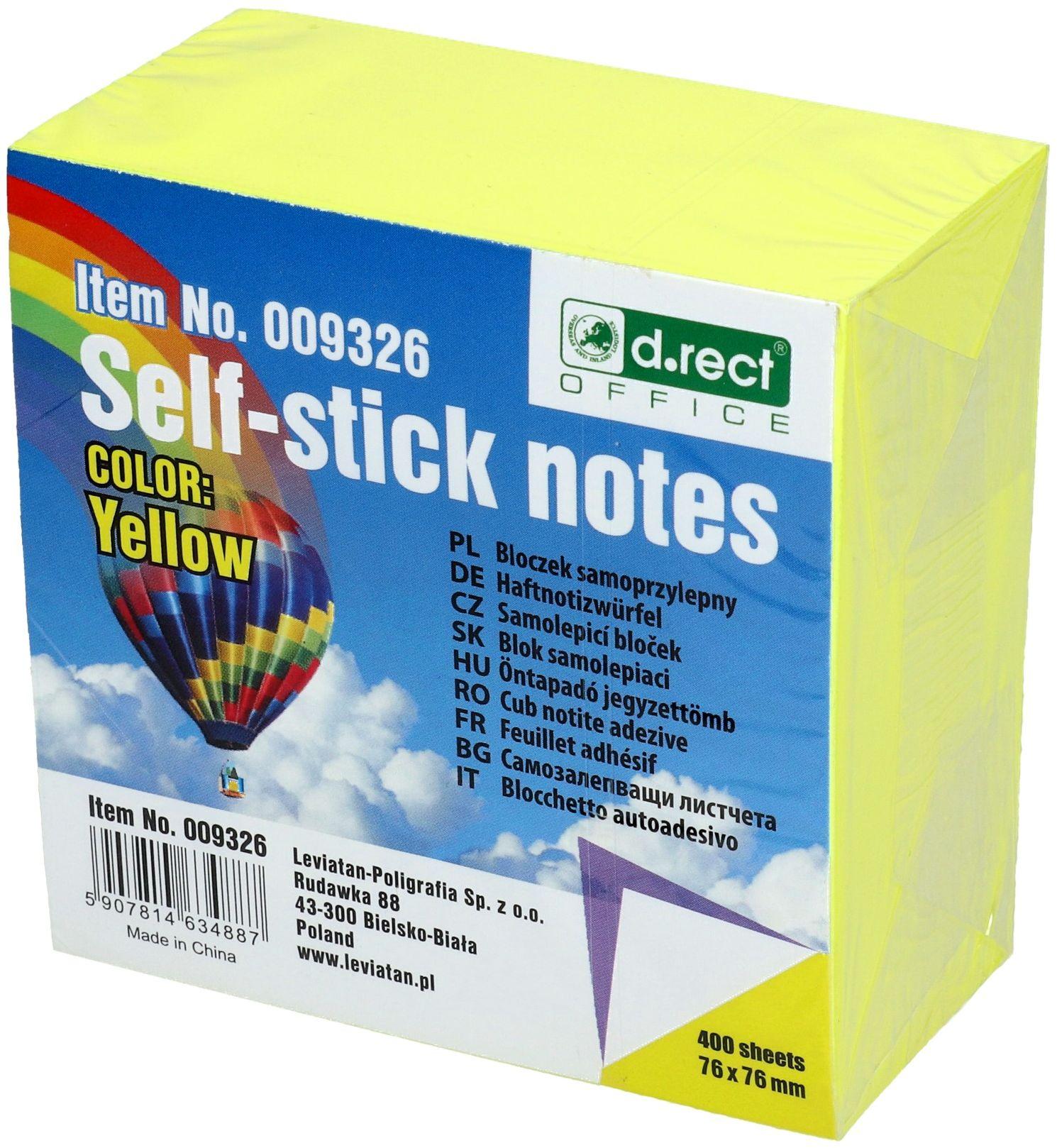 Karteczki samoprzylepne 75x75/400 żółte DRect