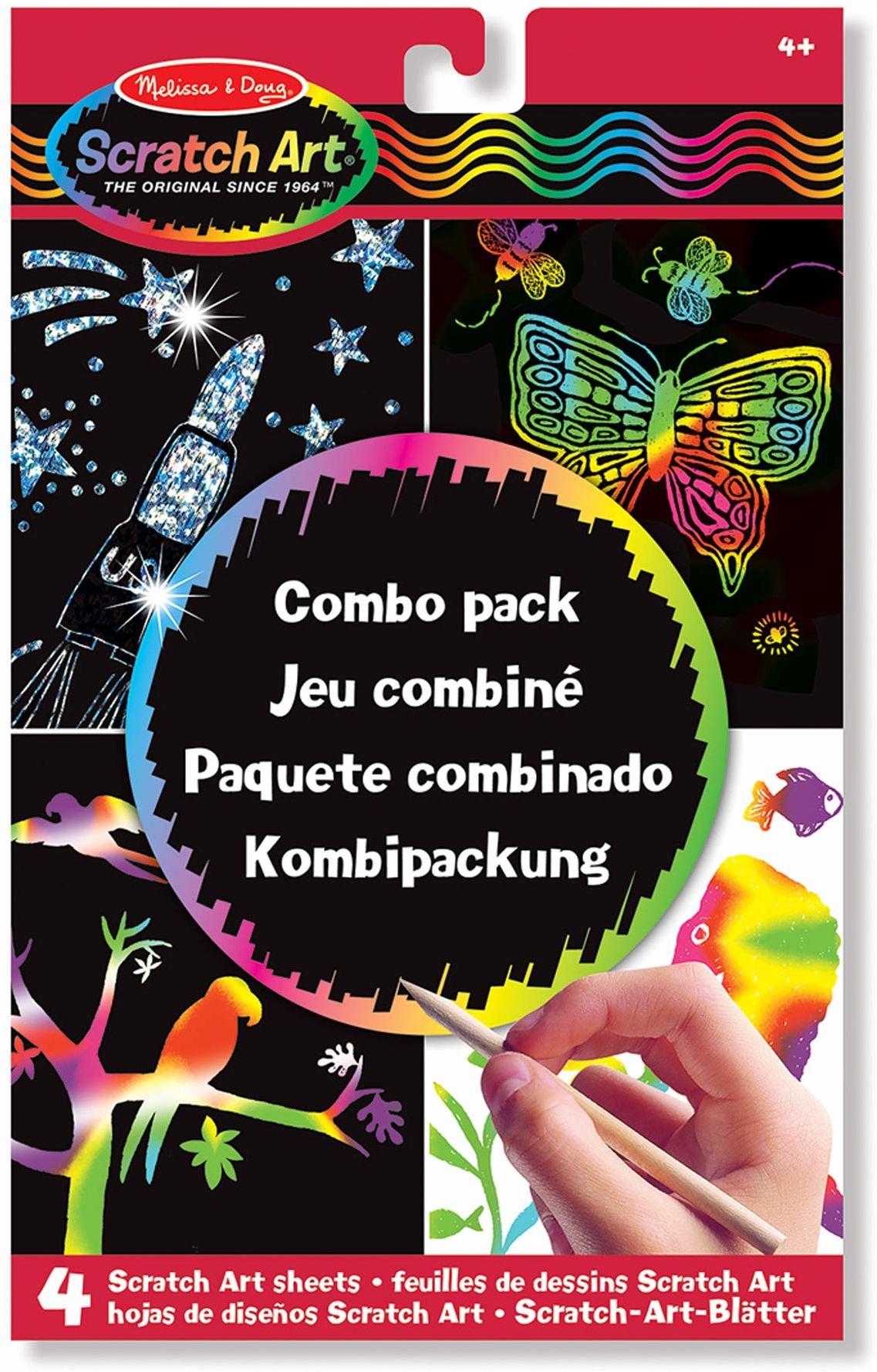Melissa & Doug Zestaw Combo Scratch Art Sztuka i rzemiosło Sztuka zdrapywania 4+ Prezent dla chłopca lub dziewczyny