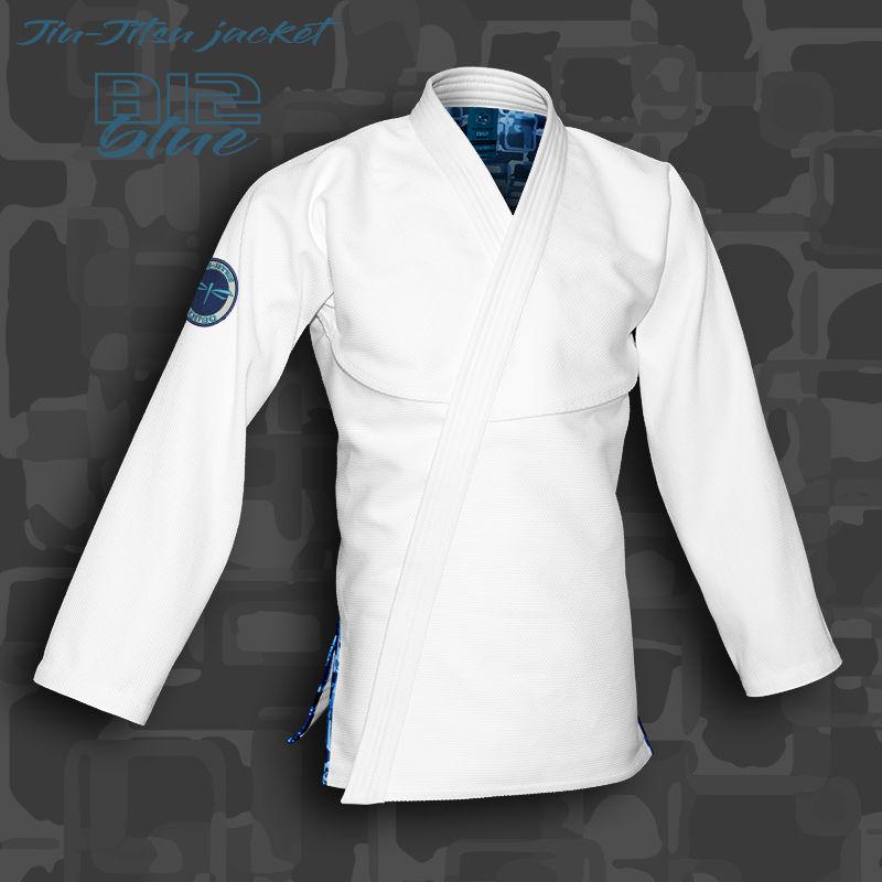 bluza BJJ / Jiu-Jitsu B12-BLUE, biała, 580g/m2 (27 rozmiarów)