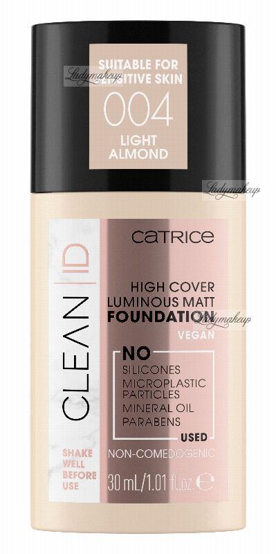 Catrice - CLEAN ID - HIGH COVER LUMINOUS MATT FOUNDATION - Naturalny, matujący podkład do twarzy - 30 ml - 004 - LIGHT ALMOND