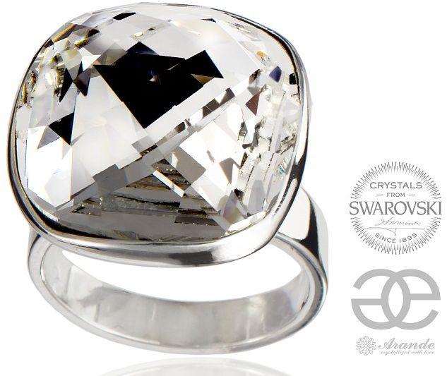 SWAROVSKI piękny pierścionek CRYSTAL SQUARE SREBRO