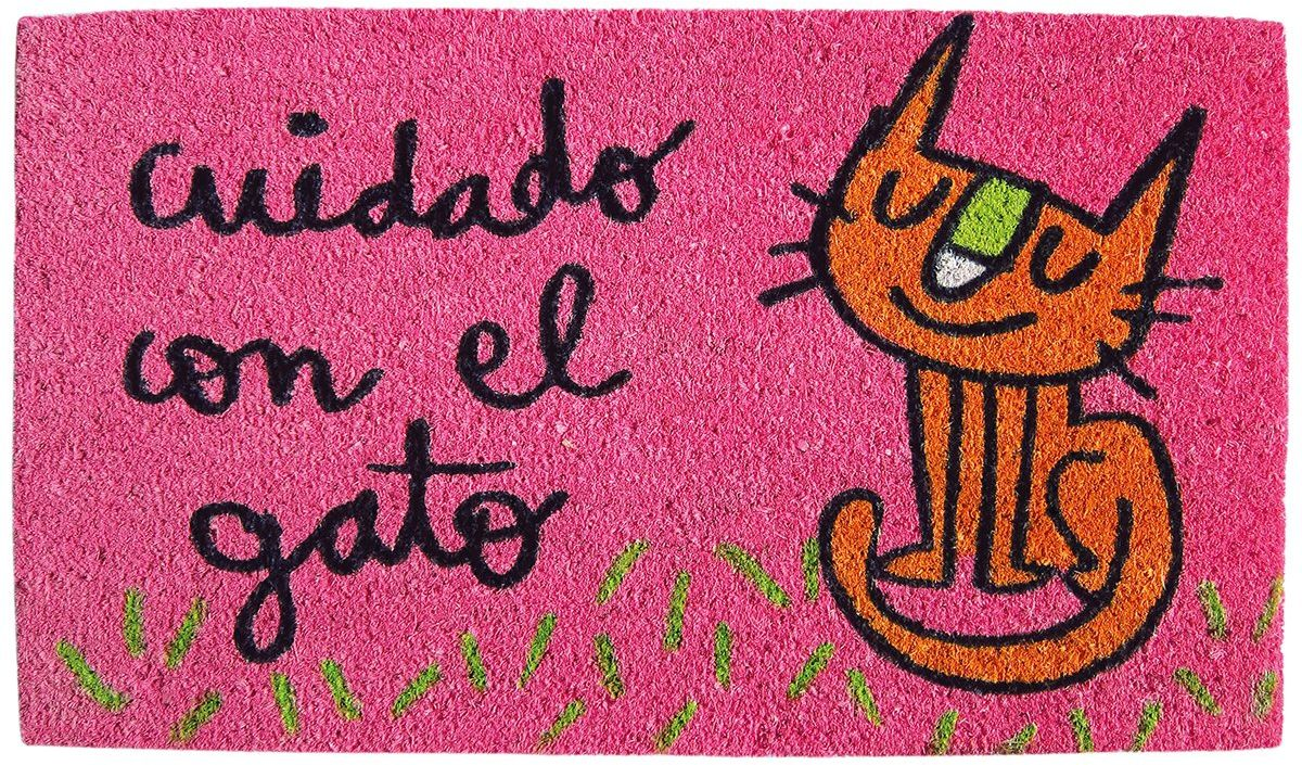 Laroom Wycieraczka z kotem, juta i antypoślizgowy spód, różowa, 40 x 70 cm