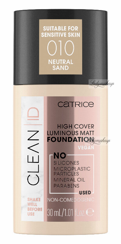 Catrice - CLEAN ID - HIGH COVER LUMINOUS MATT FOUNDATION - Naturalny, matujący podkład do twarzy - 30 ml - 010 - NEUTRAL SAND