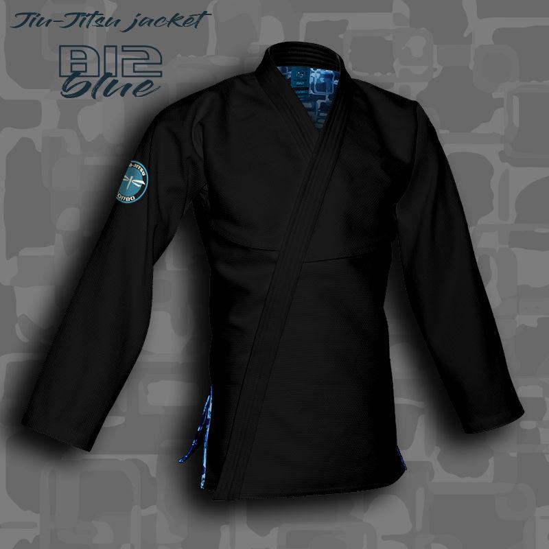 bluza BJJ / Jiu-Jitsu B12-BLUE, czarna, 580g/m2 (27 rozmiarów)