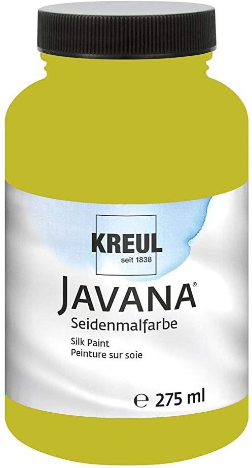 Kreul 8140-275 - Javana farba do malowania jedwabiu 275 ml, kiwi, wysoko pigmentowana i olśniewająca farba na bazie wody, o płynnym charakterze, wnika głęboko w włókna