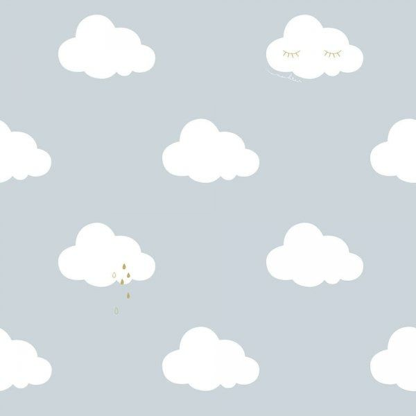 Tapeta niebieska w białe chmurki nd21114 sweet dreams
