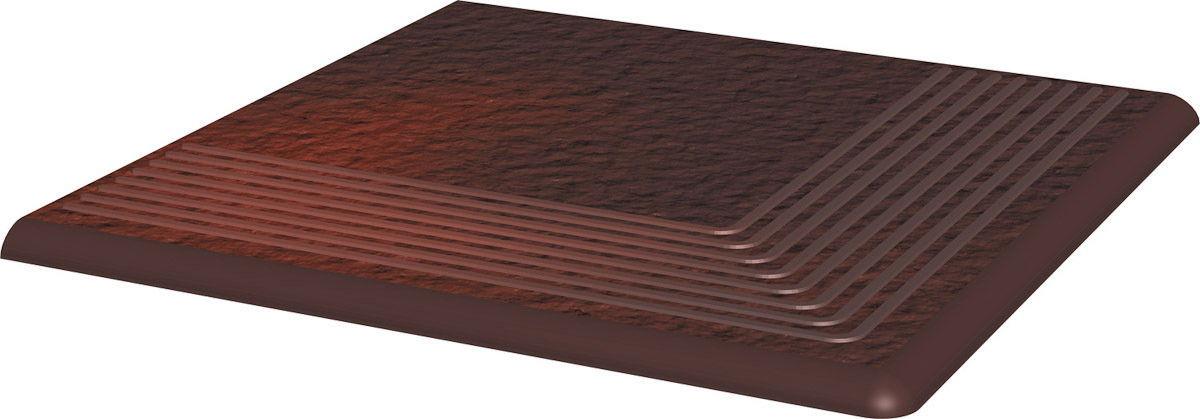 CLOUD DURO BROWN stopnica ryflowana narożna strukturalna 30x30x1,1