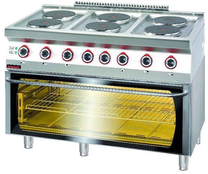 Kuchnia gastronomiczna elektryczna 6-płytowa z piekarnikiem el. KROMET 700.KE-6/PE-3