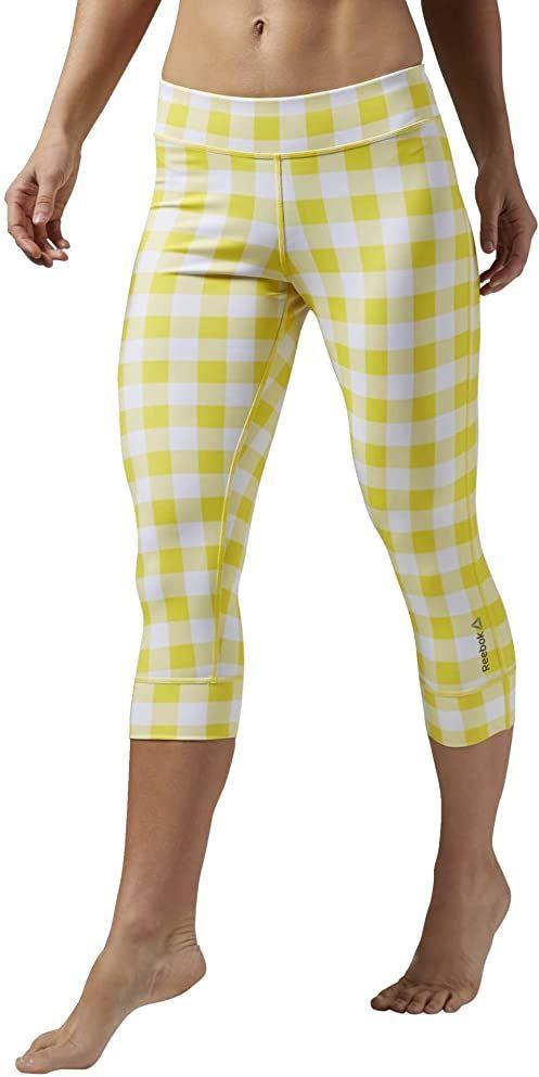 Reebok damskie spodnie treningowe Yoga Gingham Capri, Yellow Spark, S