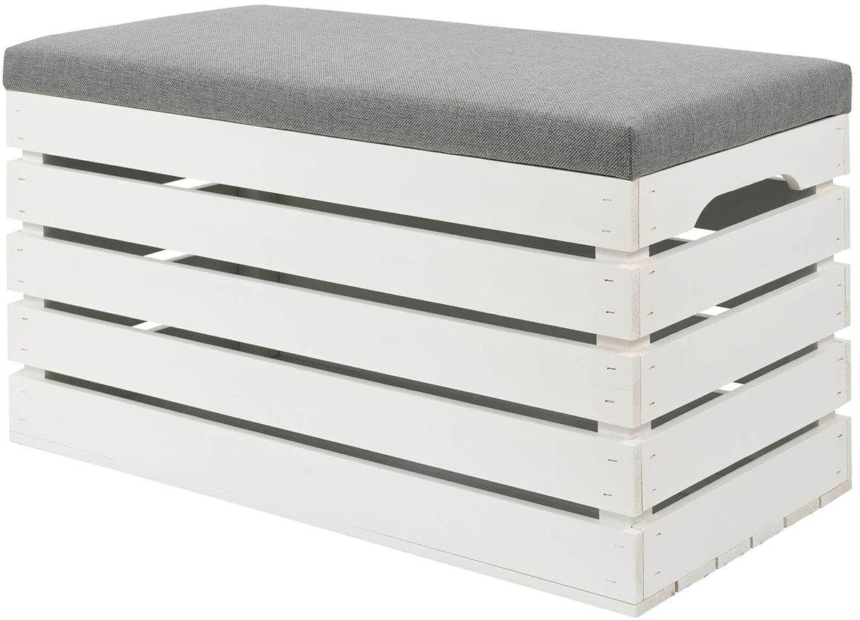 Biała skrzynia z siedziskiem Alva 4X- 38 kolorów