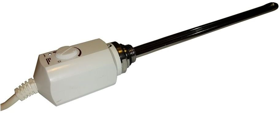 Grzałka elektryczna z termostatem  600W, Biała, Zaokrąglona