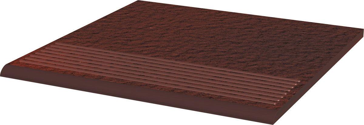 CLOUD DURO BROWN stopnica ryflowana prosta strukturalna 30x30x1,1