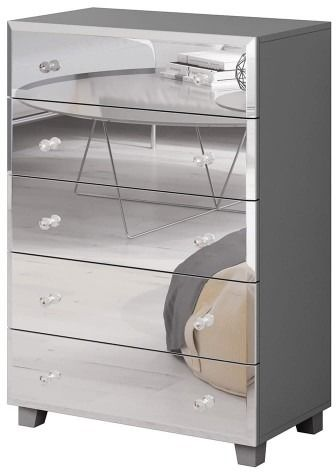 Bellagio 45 komoda 5s - szary lamiant/lustra