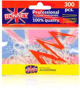 Ronney Profesjonalne gumki do włosów Silikonowe, przezroczyste 300 szt.