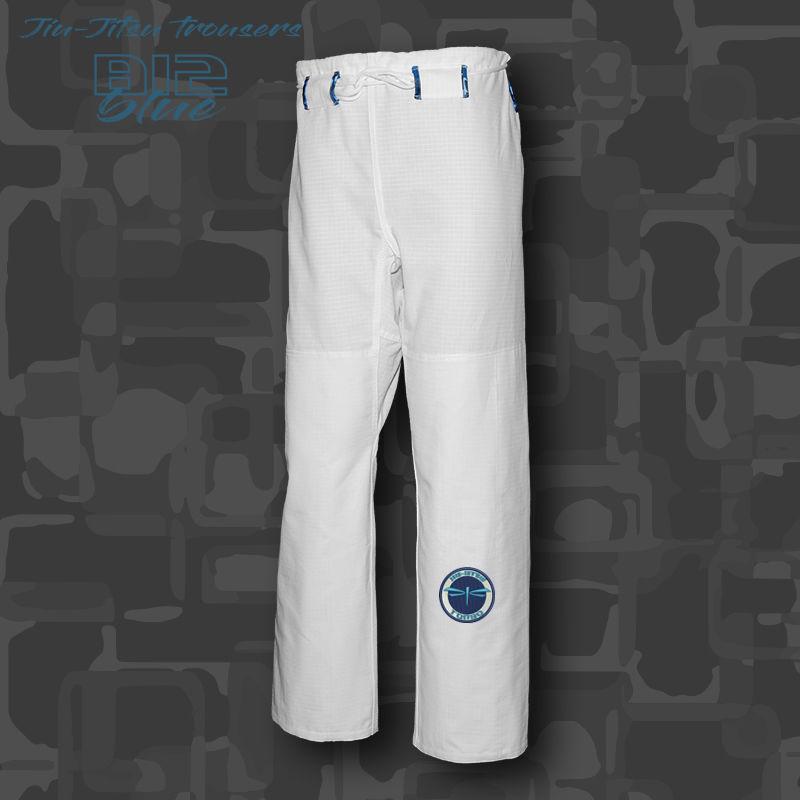 spodnie BJJ / Jiu-jitsu B12-blue RIPSTOP, białe, (27 rozmiarów)